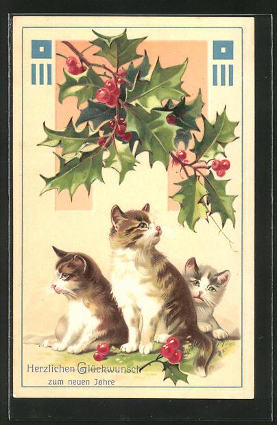 Präge-AK Drei Katzen unter einem Mistelzweig