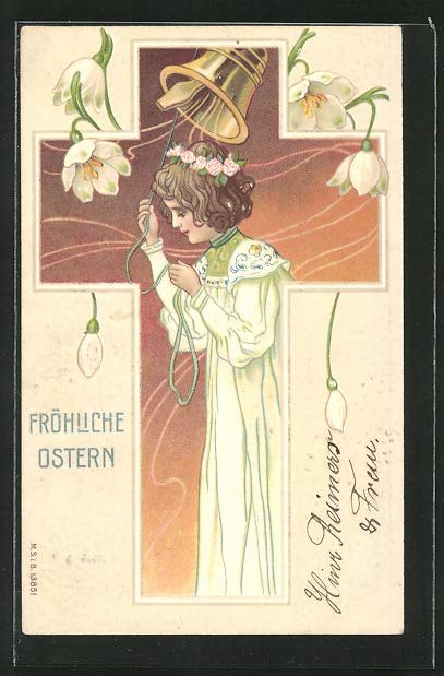 Präge-AK Fröhliche Ostern, Mädchen läutet eine Glocke, Ostergruss mit Maiglöckchen im Jugendstil