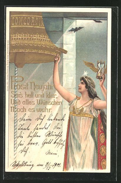 Präge-AK Prosit Neujahr im Jugendstil, Göttin läutet eine Glocke