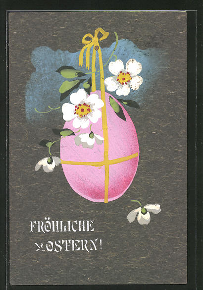 Künstler-AK Handgemalt: hübsches Osterei mit Schleife und weissen Blumen, Fröhliche Ostern