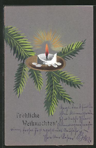 Künstler-AK Handgemalt: Fröhliche Weihnachten, brennende Kerze auf einem Tannenzweig