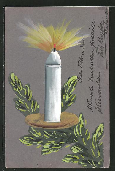 Künstler-AK Handgemalt: brennende Kerze auf einem Tannenzweig
