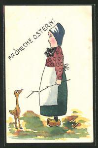 Künstler-AK Handgemalt: Frau in Tracht mit Ente, Fröhliche Ostern