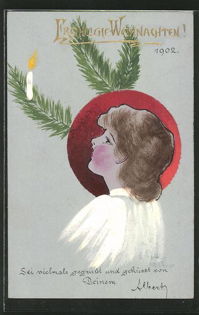 Künstler-AK Handgemalt: Fröhliche Weihnachten, junge Frau blick zur brennenden Kerze auf Tannenzweig