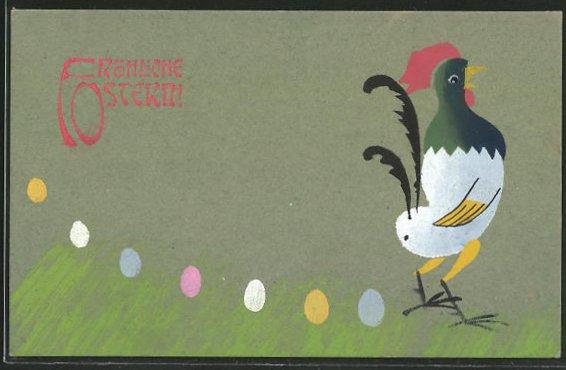 Künstler-AK Handgemalt: Hahn legt bunte Eier, Fröhliche Ostern