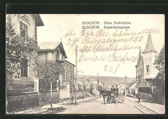 AK Zloczów, Podwójciagasse mit Villen und Kutsche