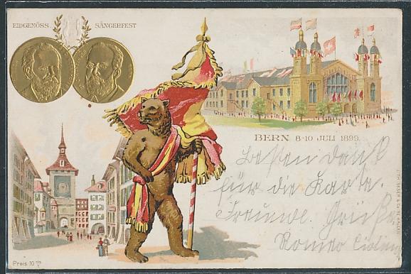 Lithographie Bern, Eidgenössisches Sängerfest 1899, Bär mit Fahne, geprägte Medaillen