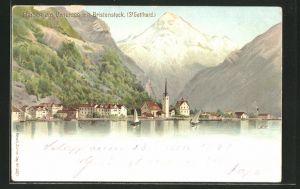 Lithographie Künzli Nr. 5021: Flüelen am Urnersee, Ortsansicht mit Bristenstock, Berg mit Gesicht / Berggesichter