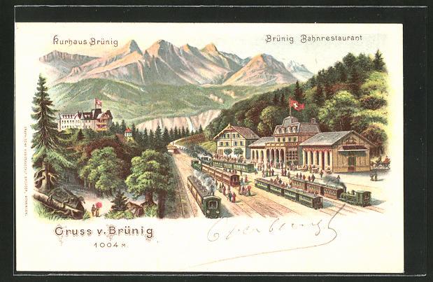 Lithographie Brünig, Kurhaus und Bahnrestaurant, Bahnhof
