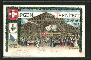 Künstler-Lithographie Zürich, Eidgen. Turnfest 1903, Festhalle