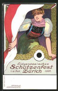 Künstler-AK Zürich, Eidgen. Schützenfest 1907, Maid in Tracht