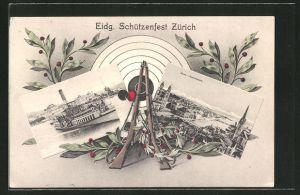 AK Zürich, Eidg. Schützenfest, Panoramaansicht der Stadt