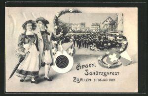 AK Zürich, Eidg. Schützenfest 1907, Schützenumzug