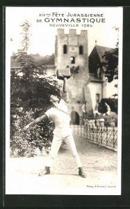 AK Neuveville, XIVme Fête Jurassienne de Gymnastique 1924, Gewichtheber, Kraftsportler