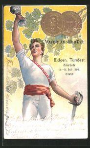 Lithographie Zürich, Eidgen. Turnfest 1903, Vaterland nur Dir!, geprägte Münzen