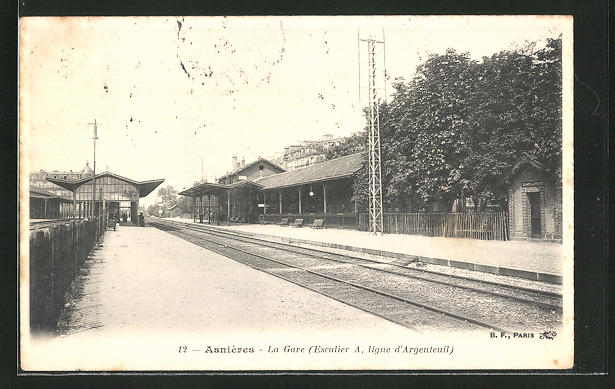 AK Asnières, la Gare, Bahnhof mit Bahnsteigen