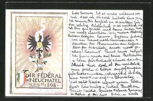 Künstler-AK Neuchatel, Tir Fédéral de Neuchatel 1898