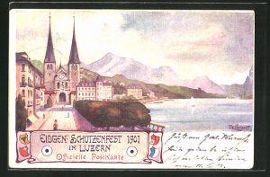 Künstler-AK Luzern, Eidg. Schützenfest 1901, Strassenpartie am See