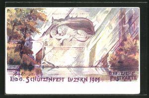Künstler-AK Luzern, Eidg. Schützenfest 1901, Löwendenkmal