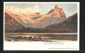 Künstler-Lithographie Themistokles von Eckenbrecher: Romsdalshorn, Berglandschaft im Abendlicht