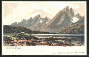 Künstler-Lithographie Themistokles von Eckenbrecher: Raftsund, Berglandschaft am Sund