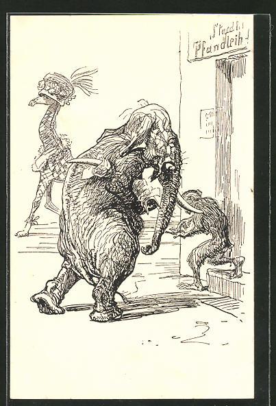 Künstler-AK Simplicissimus: Elefant und Affe am Pfandverleih