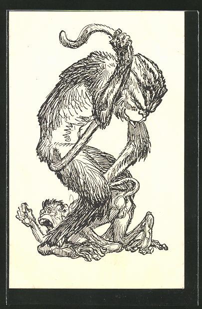 Künstler-AK Simplicissimus: Affe versohlt seinem Sprössling den Hintern, vermenschlichte Tiere