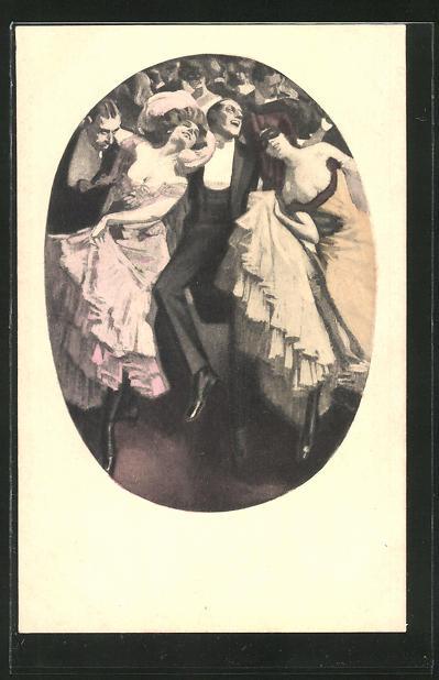 Künstler-AK Simplicissimus: Ausgelassenes Tanzvergnügen auf einem Ball