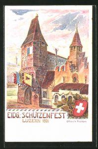 Künstler-AK Luzern, Eidg. Schützenfest 1901, Bannerturm und kleines Restaurant