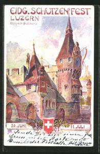 Künstler-AK Luzern, Eidg. Schützenfest 1901, Zeitturm der grossen Festhalle