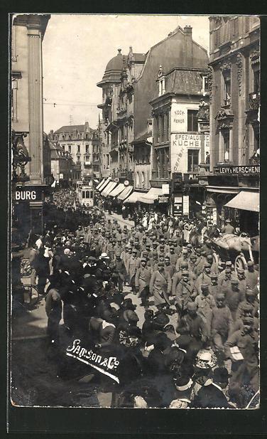 AK Mülhausen, Kriegsgefangenen-Transport am 28.4.1915