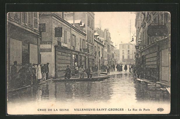 AK Villeneuve-Saint-Georges, Cre de la Seine, La Rue de Paris, Hochwasser