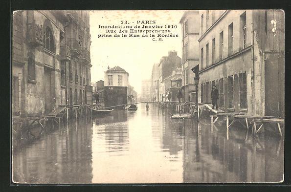 AK Paris, Inondations de Janvier 1910, Rue des Entrepreneurs, prise de la Rue de la Rosière, Hochwasser