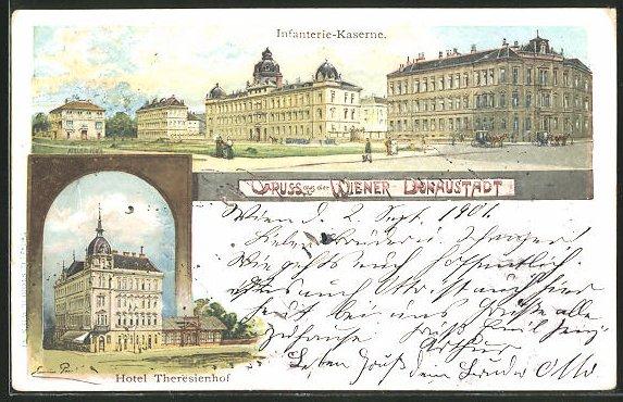 Künstler-AK Erwin Pendl: Wien, Hotel Theresienhof und die Infanteriekaserne