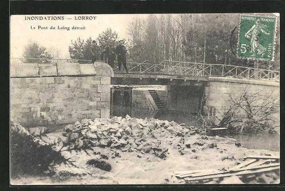 AK Lorroy, Le Pont du Loing détruit, Hochwasser
