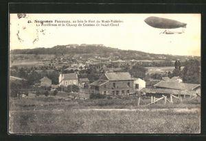 AK Suresnes, Panorama au loin le Fort du Mont-Valérien, La Fouilleuse et le Champ de Courses de Saint-Cloud, Zeppelin