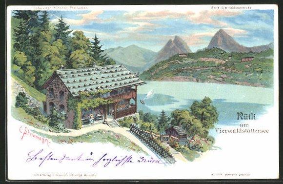 Künstler-AK C. Steinmann: Rütli am Vierwaldstättersee, Haus mit Seeansicht