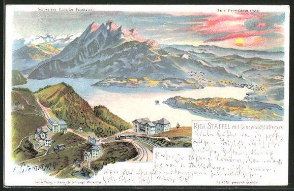 Künstler-AK C. Steinmann: Rigi-Staffel, Ansicht mit Vierwaldstättersee