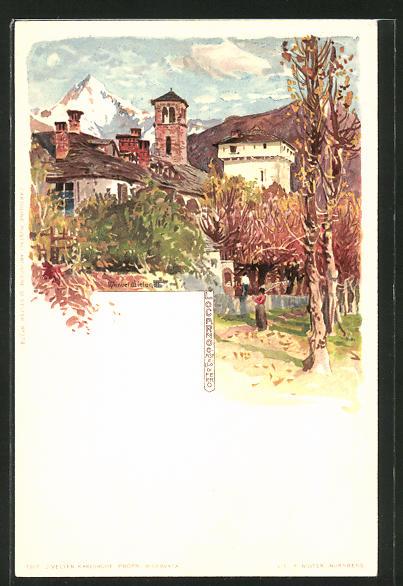 Künstler-AK Manuel Wielandt: Locarno, Ortspartie im Herbst