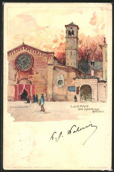 Künstler-AK Manuel Wielandt: Lugano, Santa Maria degli Angioli
