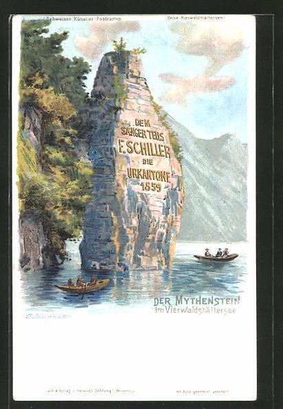 Künstler-AK C. Steinmann: Vierwaldstättersee, Boote am Mythenstein