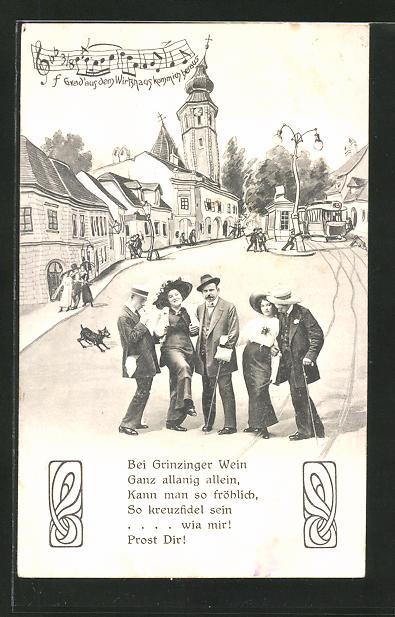 Wirtshaus-AK Wien-Grinzing, Strassenpartie aus der Sicht eines Betrunkenen