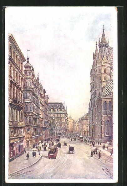 Künstler-AK Erwin Pendl: Wien, Auf dem Stefansplatz