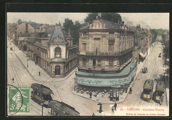 AK Limoges, Carrefour Tourny mit Strassenbahn