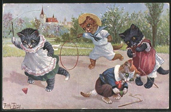 Künstler-AK Arthur Thiele: vermenschlichte Katzen beim Spielen