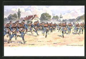 Künstler-AK Anton Hoffmann - München: Infanterie auf dem Weg ins Gefecht