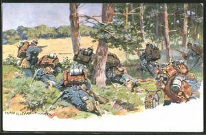 Künstler-AK Anton Hoffmann - München: Soldaten der Infanterie in Position am Waldrand