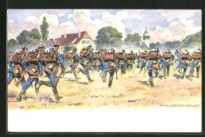 Künstler-AK Anton Hoffmann - München: Soldaten der Infanterie auf dem Weg ins Gefecht
