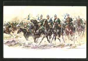 Künstler-AK Anton Hoffmann - München: Kavallerie auf dem Weg in die Schlacht