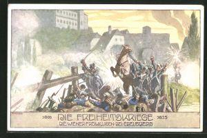 Künstler-AK Ernst Kutzer: Freiheitskriege 1806 - 1815, Die Wiener Freiwilligen bei Ebelsberg